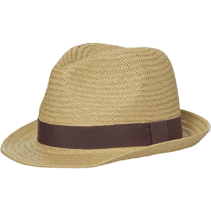 Chapeau publicitaire Urban chic, couleur nougat avec ruban blanc cassé