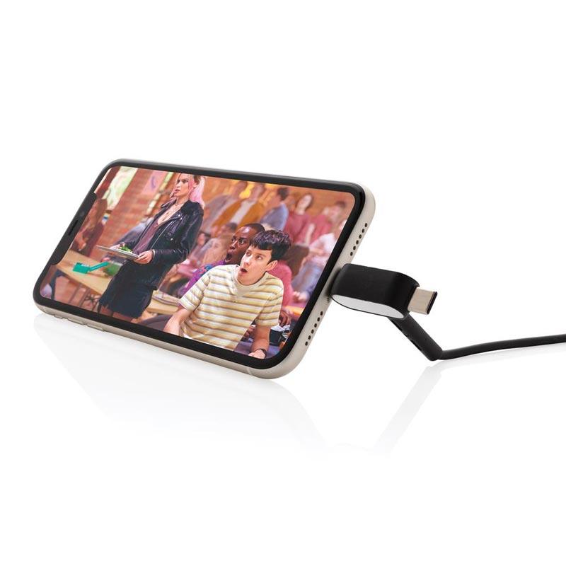 câble et support de téléphone publicitaire mise en scène