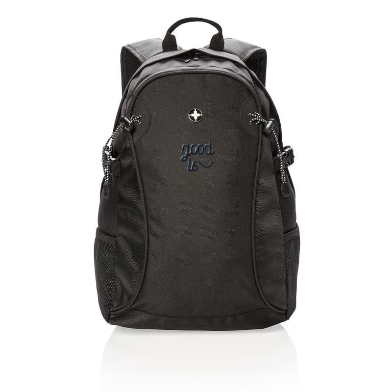 sac à dos personnalisable Lima noir - sac à dos publicitaire pour ordinateur