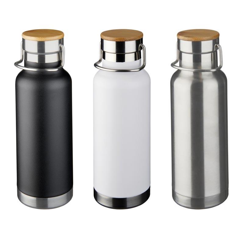 3 bouteilles isothermes publicitaires Thor noir, blanc, argent