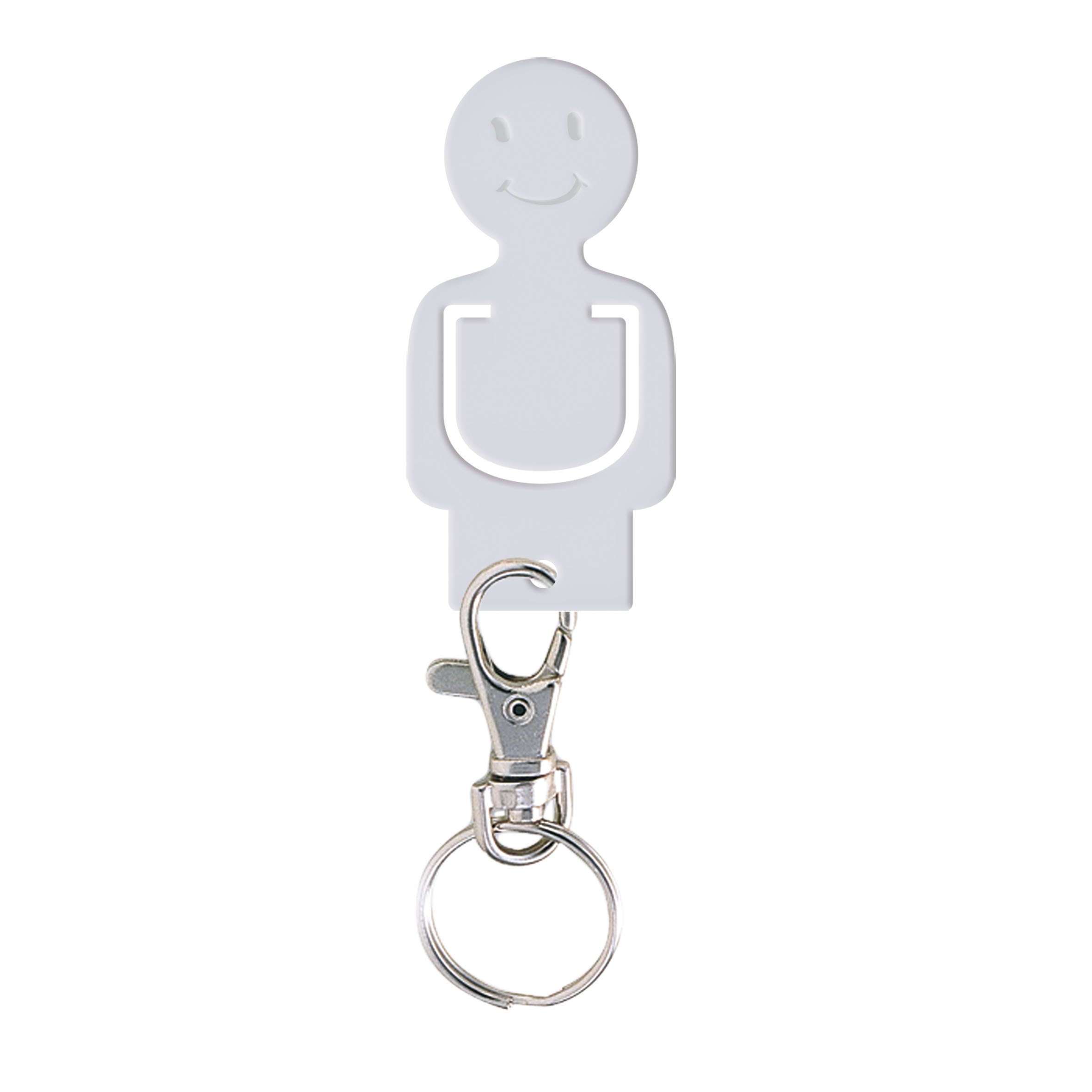 Porte-clés publicitaire jeton caddie Figurine - Goodies - blanc