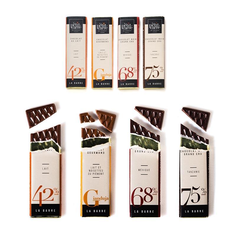 Variété de chocolat bio en barre de 10 g