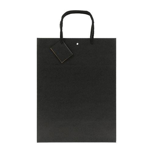 Sac papier personnalisé noir mat et cartonnette message Luxe - sac kraft publicitaire