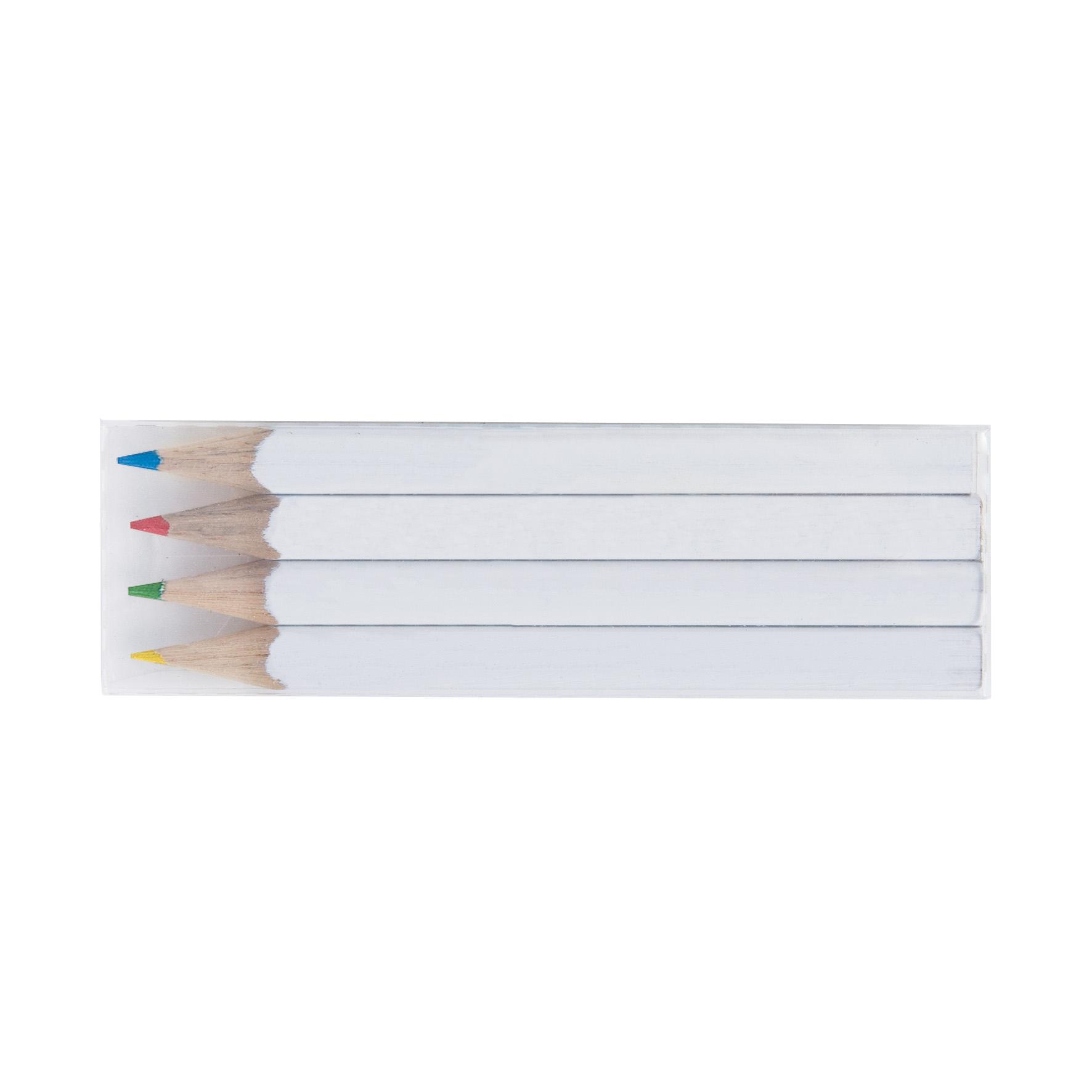 Cadeau publicitaire écologique - Set mini crayons personnalisés quadri 4 couleurs 8,7 cm