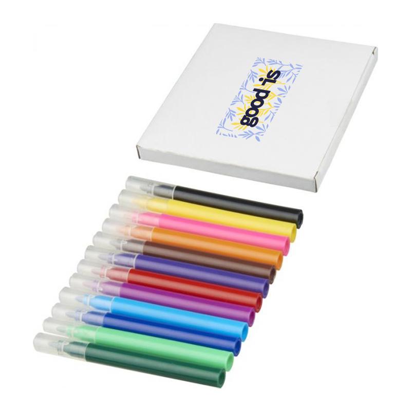 Cadeau d'entreprise CE - Set de 12 crayons feutres à personnaliser