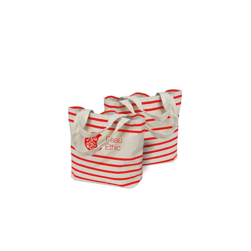 Sac shopping publicitaire en coton rayure Striped - Cadeau publicitaire pour femmes