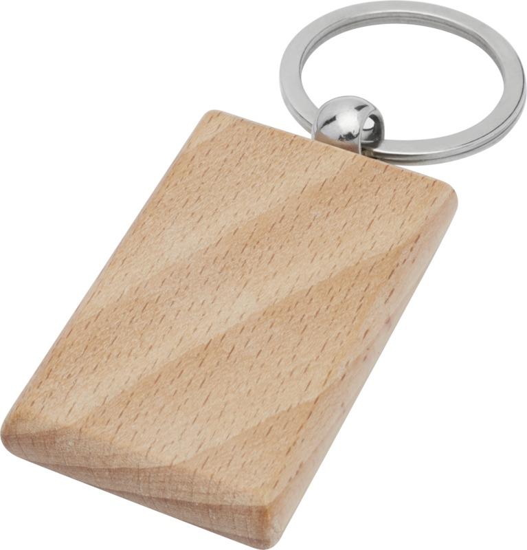 Porte-clés publicitaire rectangulaire en bois de hêtre Gian 1