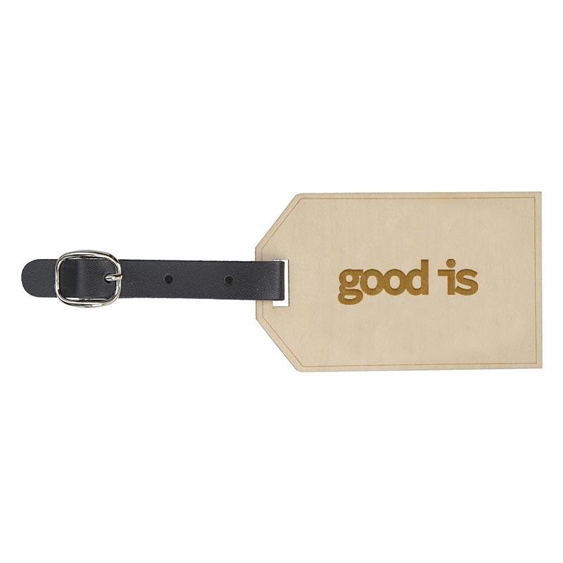 Étiquette à bagage publicitaire en bois Etiwood - Goodies voyage