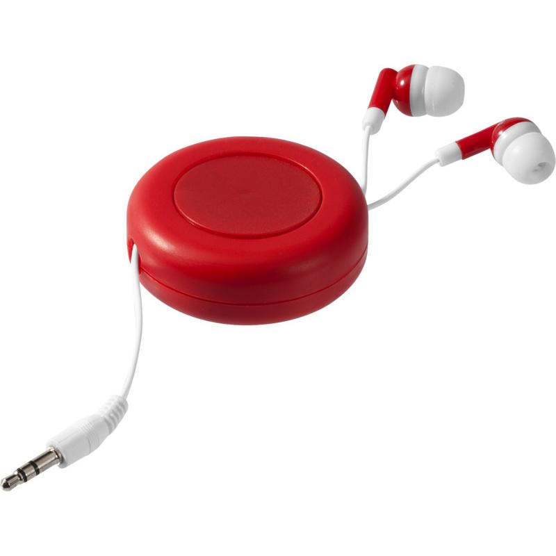 Écouteurs publicitaires rétractables Reely blancs - Goodies entreprise