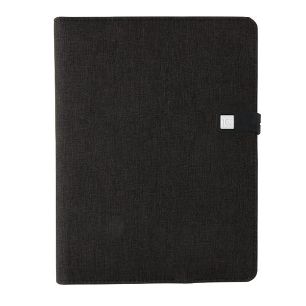 Objet publicitaire - Housse personalisable à carnet de notes A5 avec powerbank et clé USB Kyoto