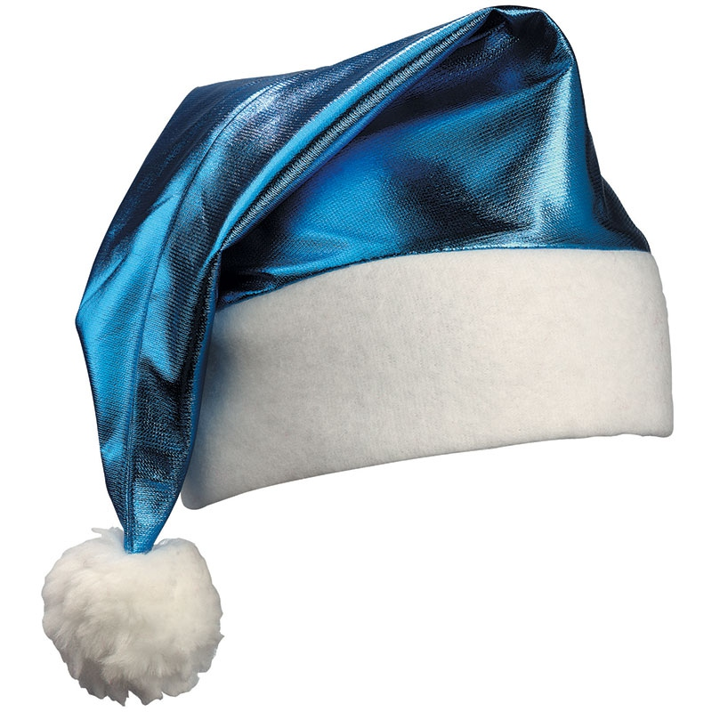 Goodies - Bonnet de père Noël brillant publicitaire - turquoise