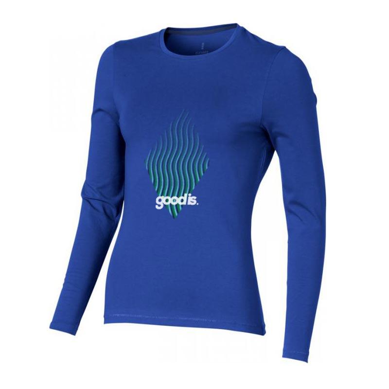 T-shirt bio publicitaire pour femmes manches longues Ponoka  bleu - textile bio plublicitaire