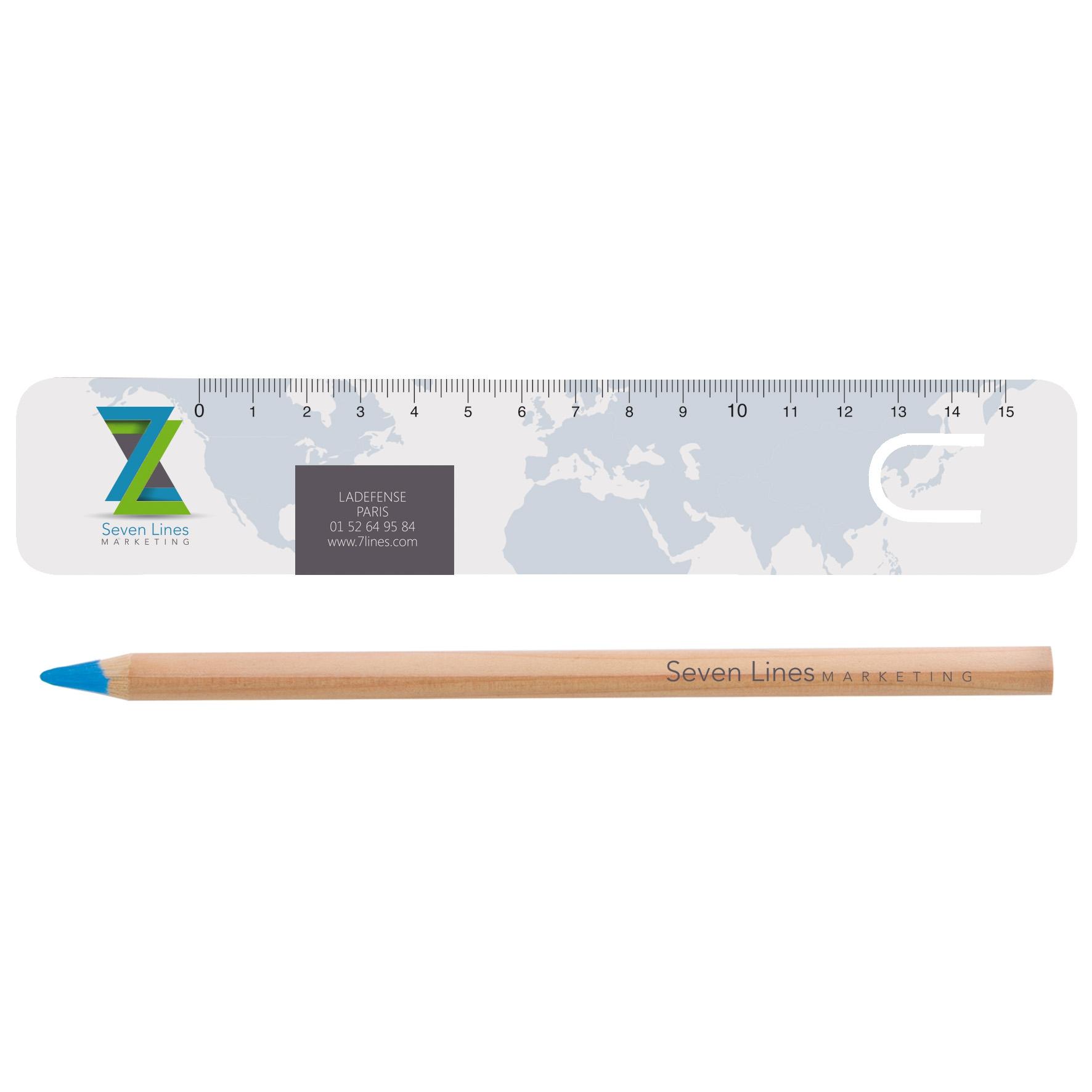 objet pub écolo - Marque-page-règle 15 cm et surligneur fluo écolo kit Bureau naturel