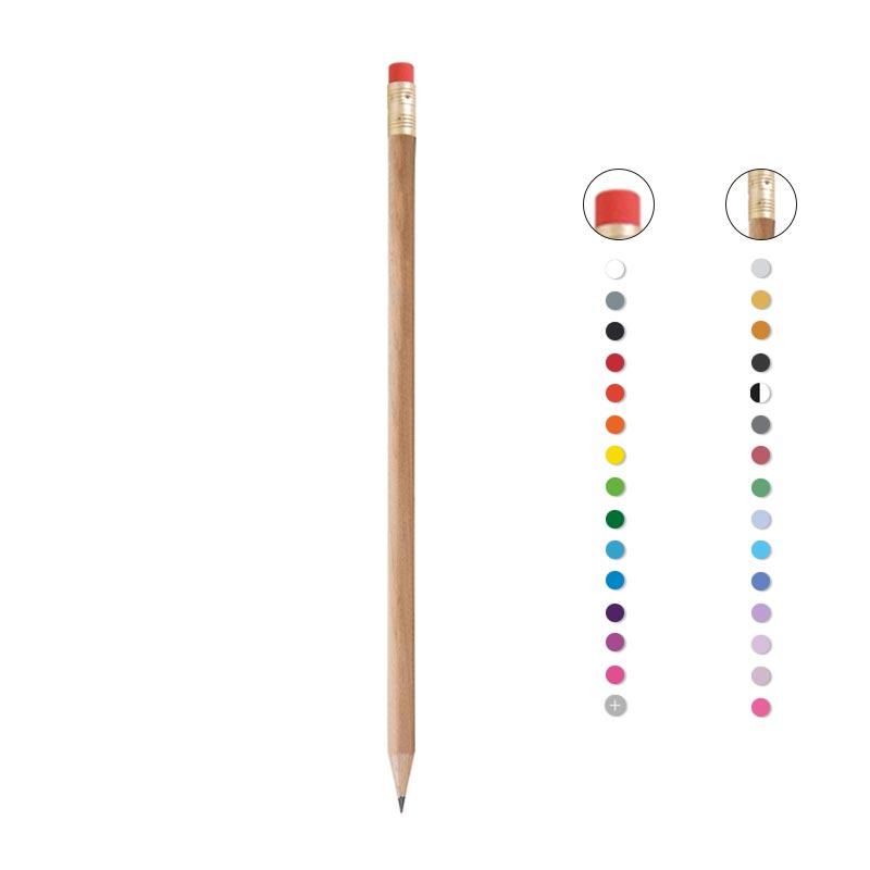Crayon à papier avec gravure et bout gomme Prestige Naturel - Coloris