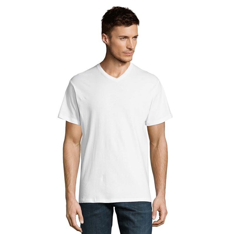 T-shirt porté en coton col V Victory