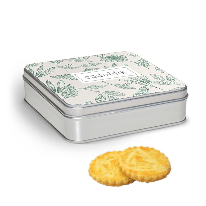 Boîte carrée personnalisable avec galettes pur beurre motif