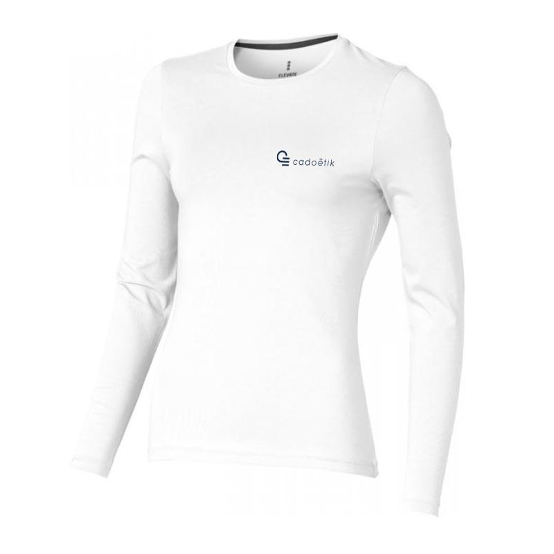 T-shirt bio publicitaire pour femmes manches longues Ponoka  - t-shirt personnalisable blanc coton bio