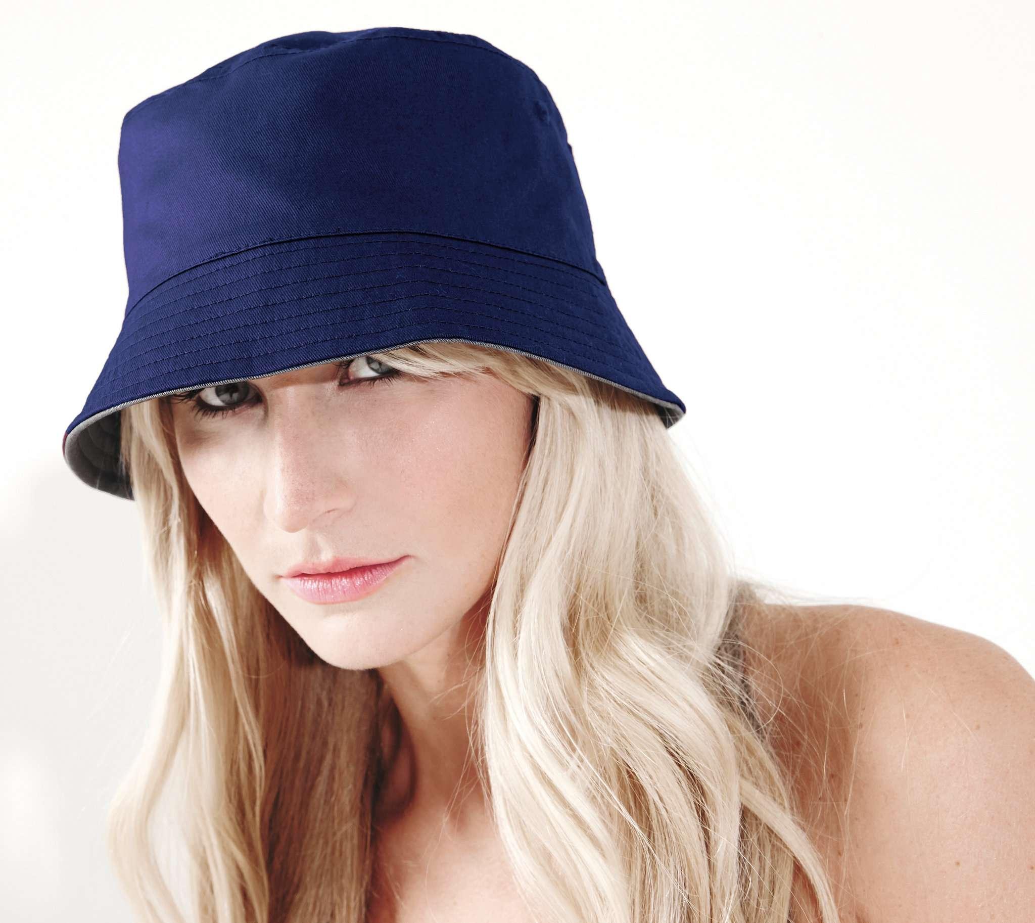 Chapeau personnalisable Bucket - chapeau publicitaire noir/gris clair
