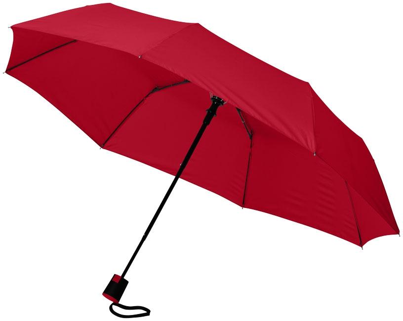 """Parapluie publicitaire 21"""" 3 sections ouverture automatique Wali - parapluie personnalisable - rouge"""