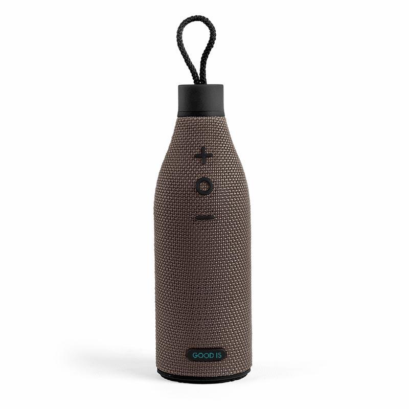 Enceinte nomade publicitaire en forme de bouteille