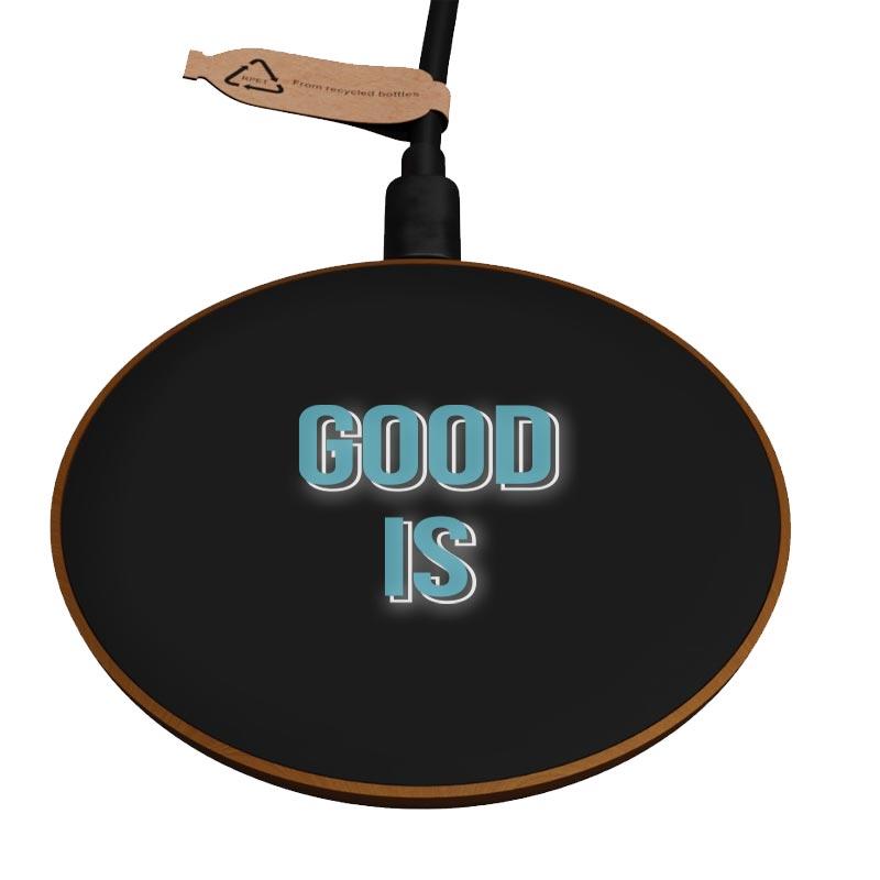 chargeur induction personnalisé avec logo lumineux en bois FSC Eco
