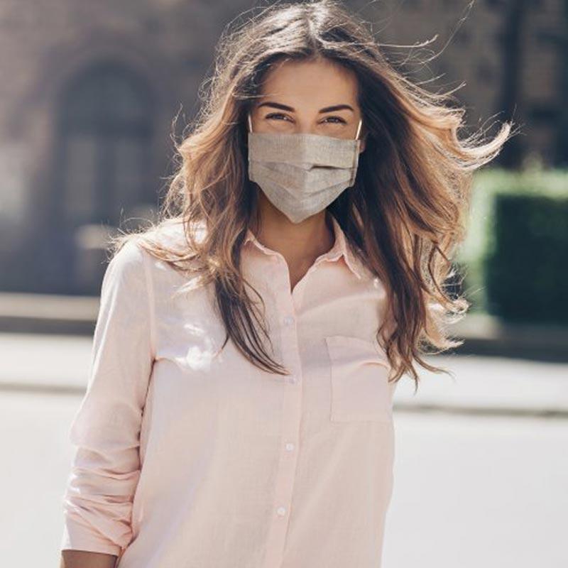 masque publicitaire en lin à personnaliser