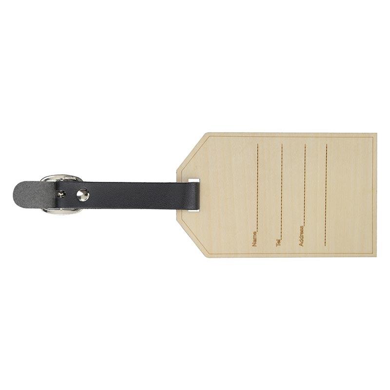 Étiquette à bagage publicitaire en bois Etiwood - Verso