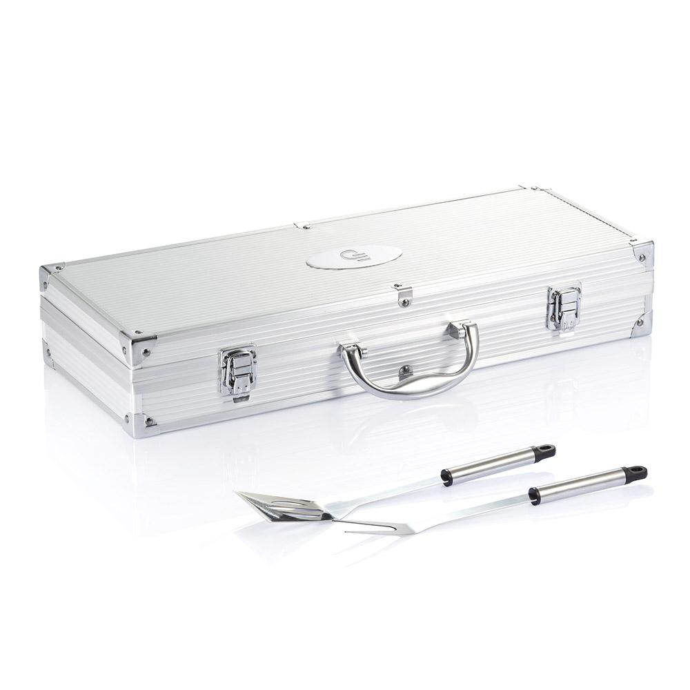 Set pour barbecue publicitaire 12 pcs en coffret aluminium - cadeau d'entreprise