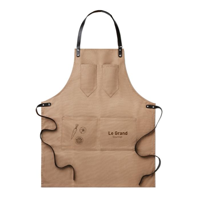 Tablier publicitaire toile enduite et cordon cuir Chef - cadeau d'entreprise cuisine