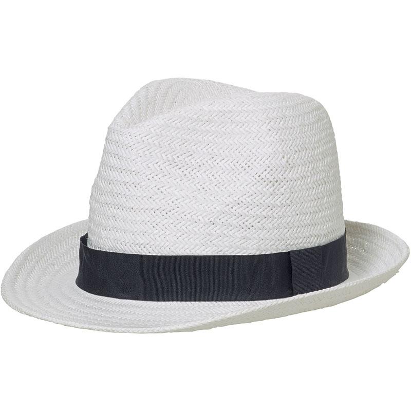 Chapeau publicitaire Urban chic, blanc avec ruban noir
