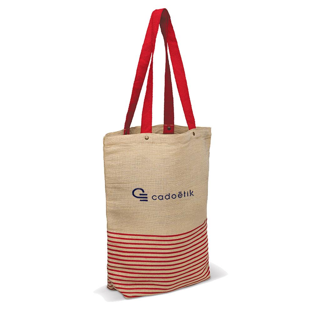 Tote bag publicitaire jute et coton Juco - goodies écologique rouge