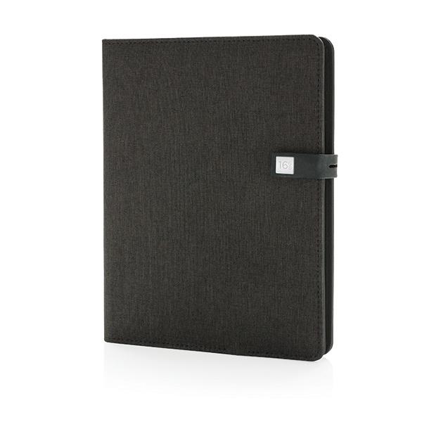 Objet publicitaire - Housse à carnet de notes A5 avec powerbank et clé USB Kyoto