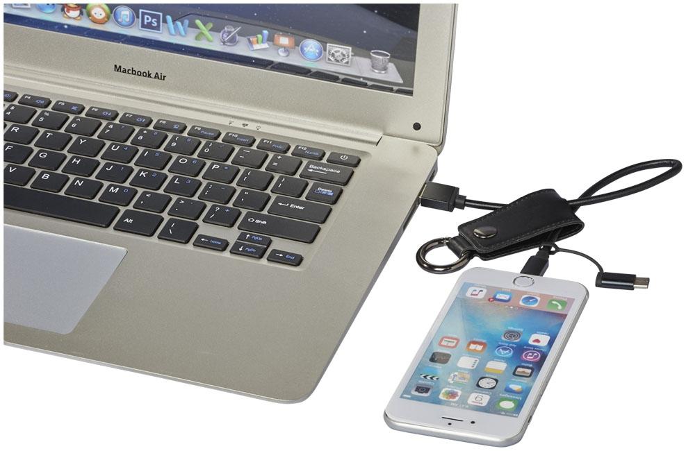 Câble de chargement publicitaire 3 en 1 Posh - porte-clés publicitaire