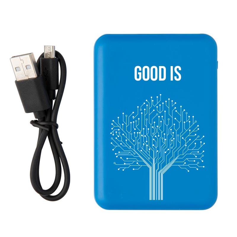 batterie de secours publicitaire de poche 500 mAh - coloris bleu