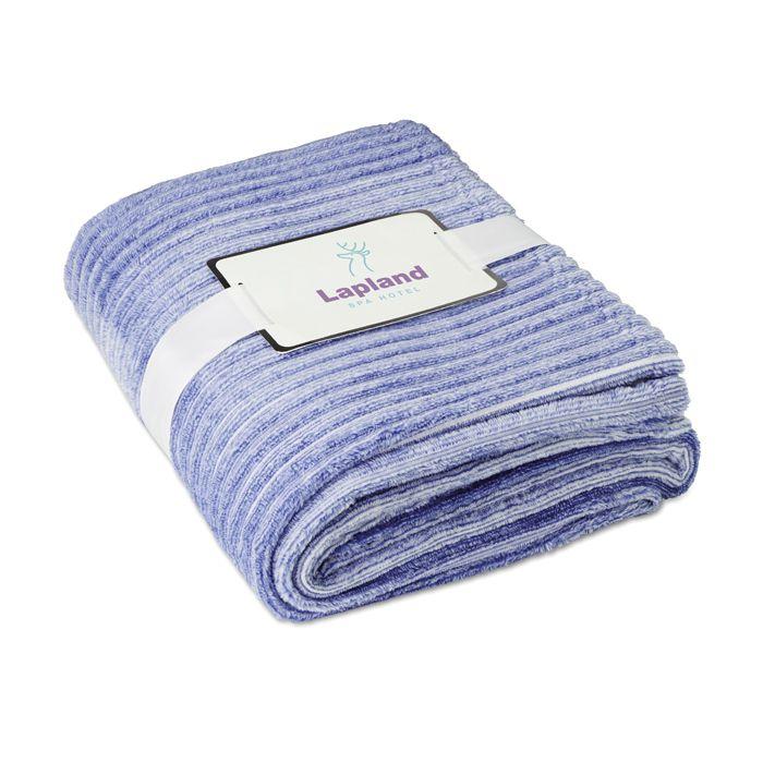 Cadeau d'entreprise textile - Couverture personnalisable flanelle bleue Arosa