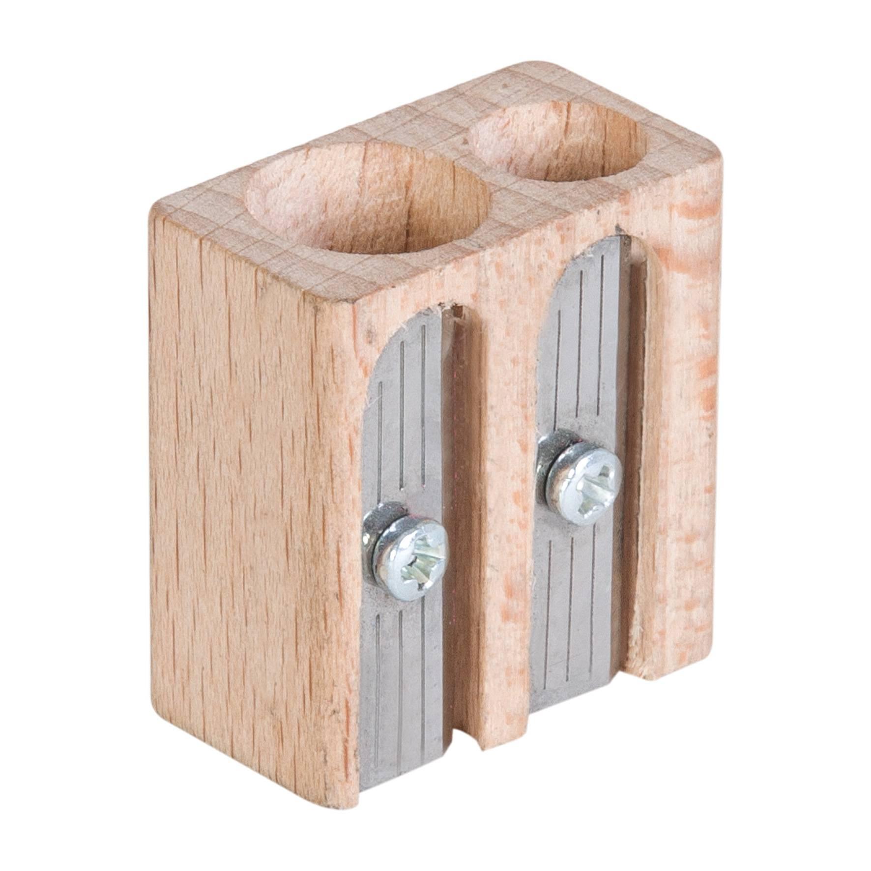 Goodies écoresponsable - taille-crayons personnalisable en bois 2 trous Woody
