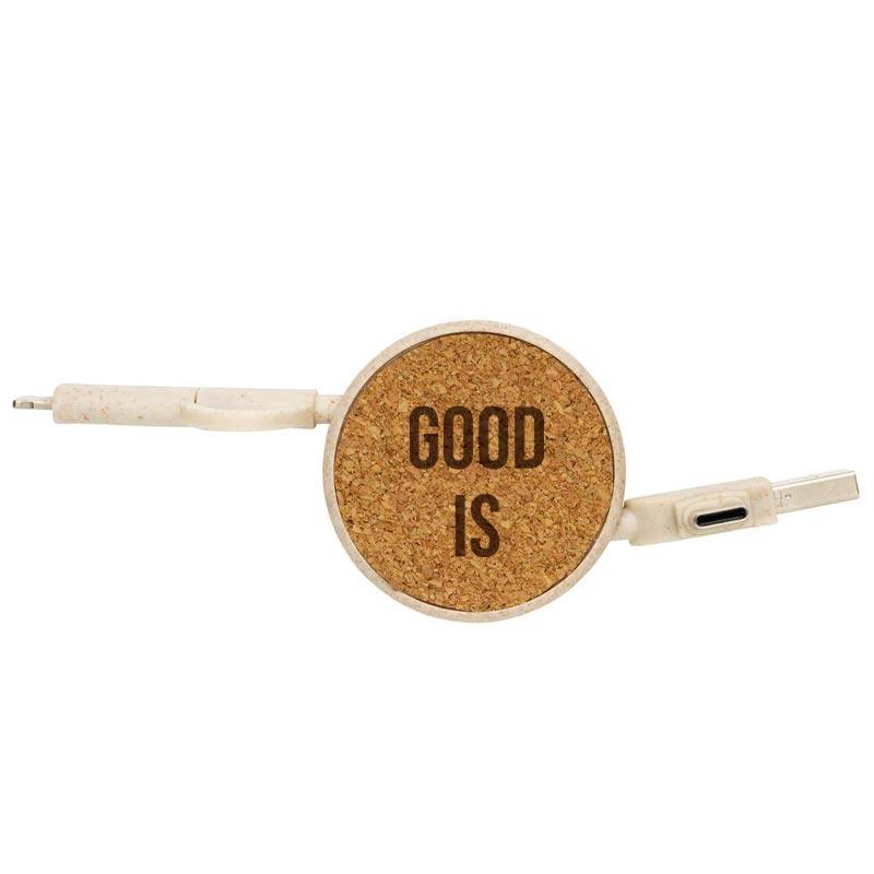 Gravure CO2 sur câble USB publicitaire Ecoboost