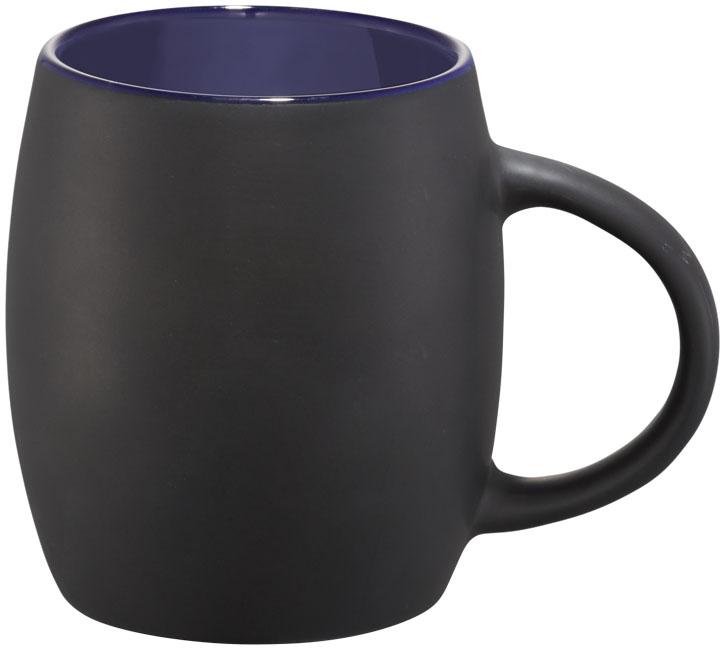 Mug publicitaire en céramique Hearth noir et bleu