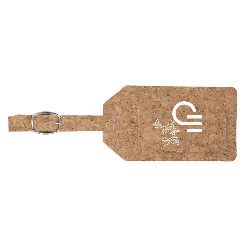 Étiquette à bagage publicitaire en liège Etili - Goodies écologique