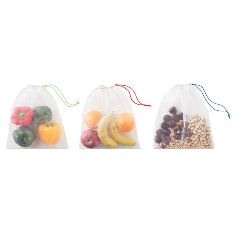 Sachets réutilisables en filet rPET Veggie - cadeau client écologique