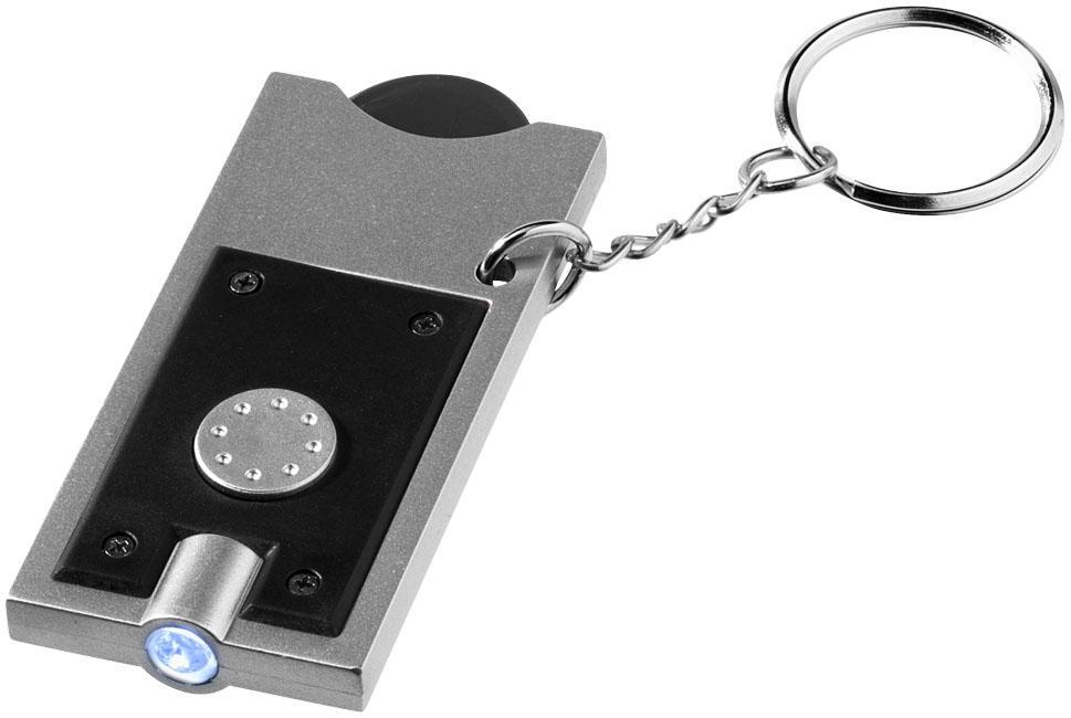 Porte-clés publicitaire jeton et lampe-torche Allegro - objet promotionnel