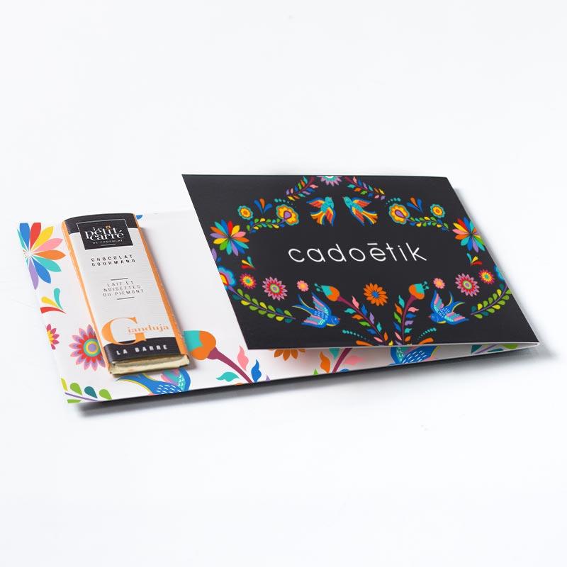 Carte personnalisable avec 1 barre chocolat bio 10 g