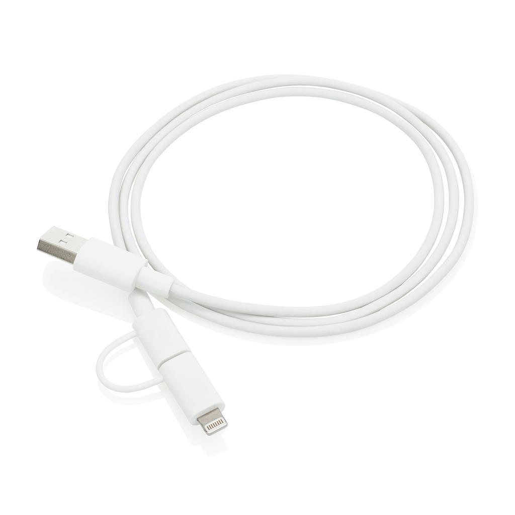 Câble de chargement publicitaire 2 en 1 avec connecteur Apple Lightning