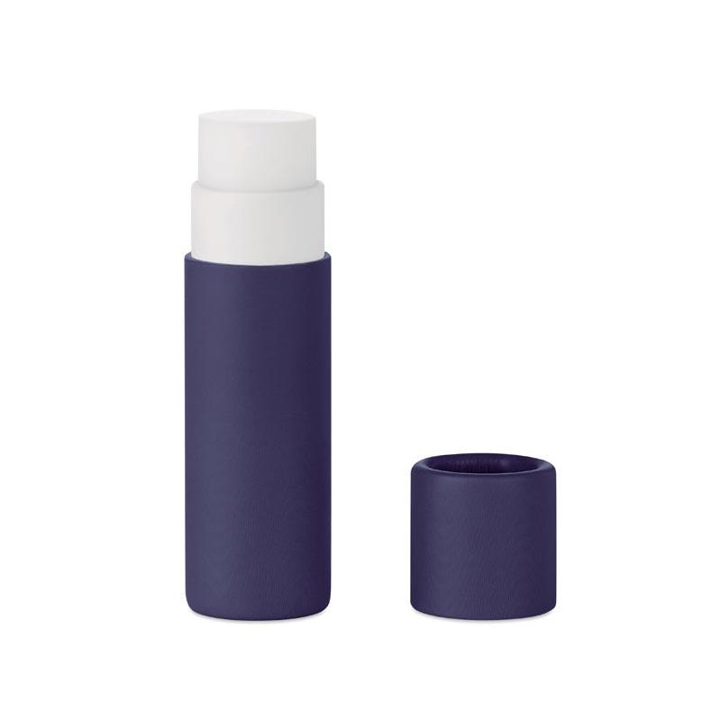 Baume à lèvres publicitaire en carton Paper Gloss - Bleu