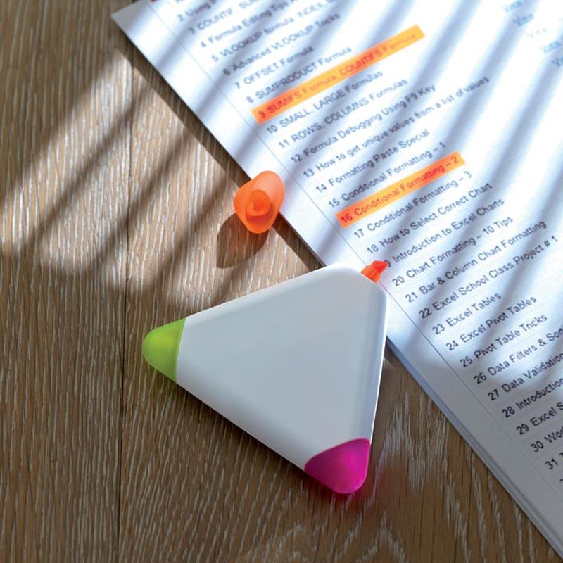 Surligneur publicitaire 3 couleurs Triangle - Goodies entreprise