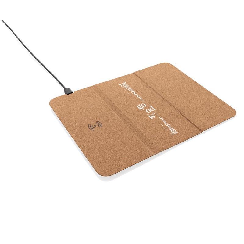 Tapis de souris publicitaire en liège avec support pour téléphone et chargement à induction