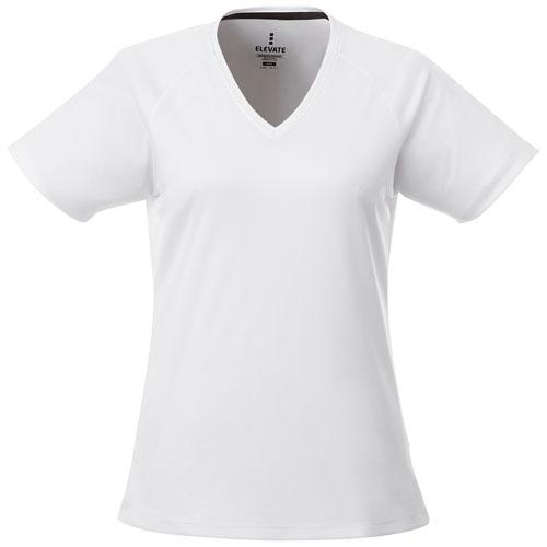 T-shirt sport femme à personnaliser col V Amery - blanc