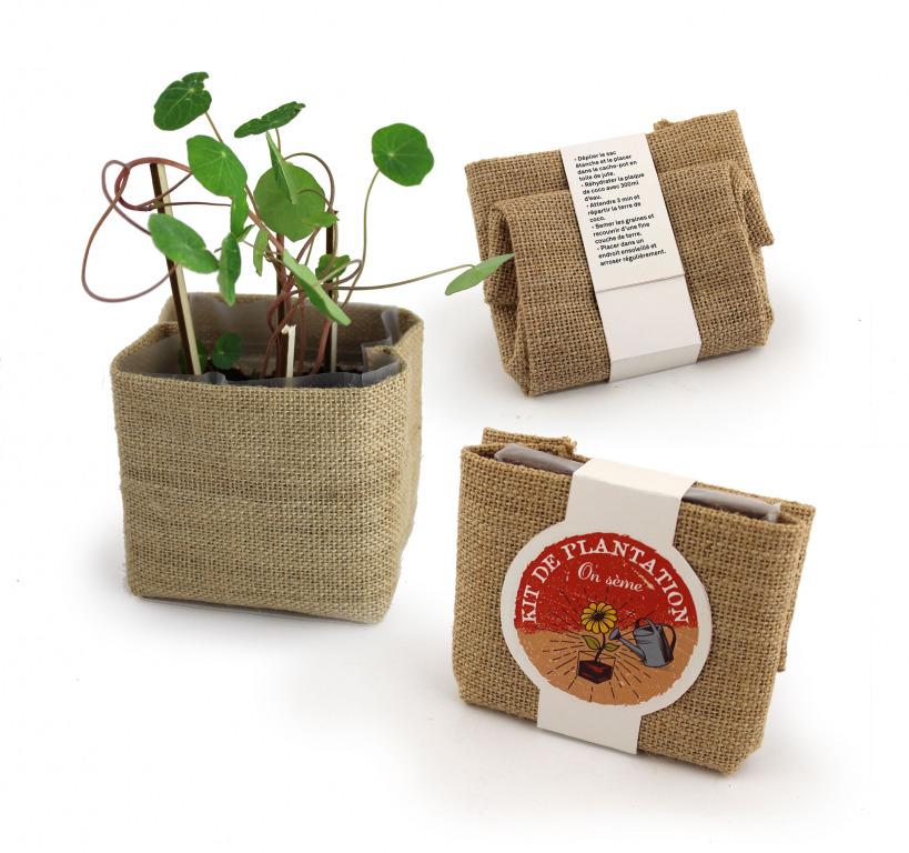 kit de plantation publicitaire Pocket coco avec pot en jute 1