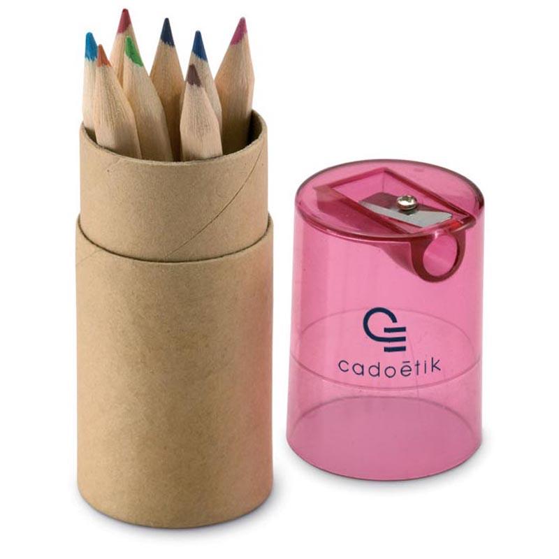 Tube 12 crayons de couleur k bleu - Goodies publicitaire