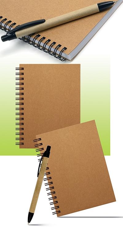 Carnet publicitaire écologique en papier recyclé  PLANET - Carnet personnalisable recyclé